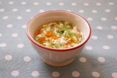 簡単☆離乳食レシピ「かぼちゃとブロッコリーの豆腐あんかけ粥」(モグモグ期)
