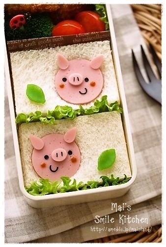ぶたさんサンドイッチ - キャラ弁連載:初めてでも楽しく作れる♪3Dキャラ弁当 レシピブログ -料理ブログのレシピ満載!