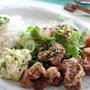 豚の唐揚げピリ辛ネギソース、アボカドと卵のサラダ
