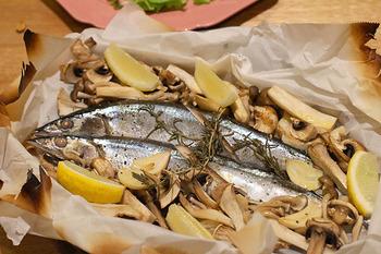 秋刀魚の紙包み焼き