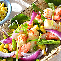 タラとカニカマのフリット☆ HOTなサラダ♪