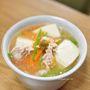 豆腐と鶏ひき肉の柚子こしょう風味の汁もの
