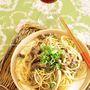 牛肉と舞茸の柚子胡椒味噌パスタ